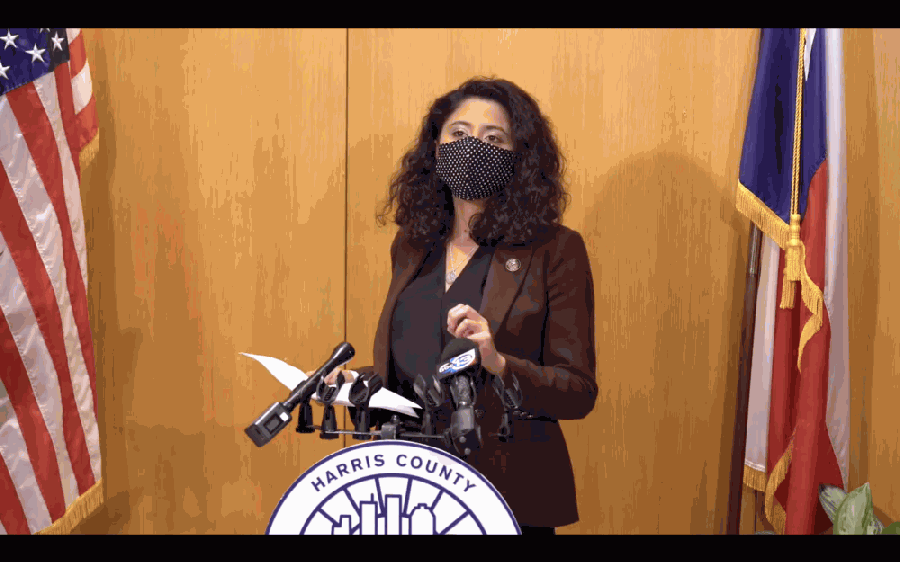 Harris County Judge Lina Hidalgo addresses the public during a Jan. 7 news conference about the first reported case in Texas of the UK COVID-19 variant. (Screenshot courtesy Office of Judge Lina Hidalgo)