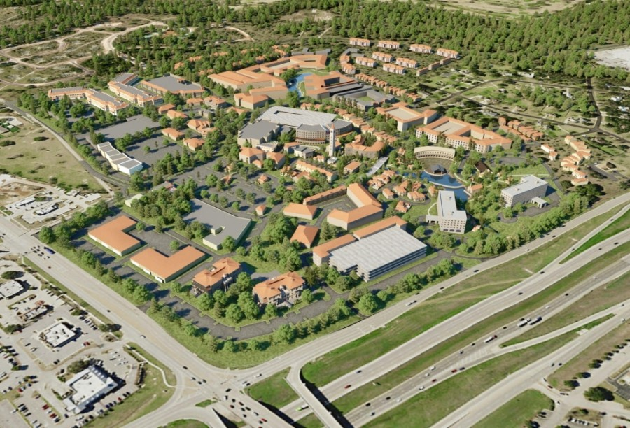 Planned amenities for Wolf Lakes Village include up to 2,400 residential units, restaurants, an outdoor amphitheater, parks, lakes, a sports court, an ice skating rink, a wedding chapel, an event center and more. (Courtesy Wolf Lakes LP)