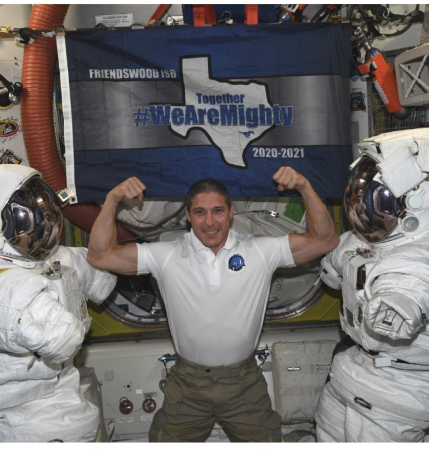 Astronaut Mike Hopkins is currently aboard the space station, along with Friendswood ISD's #WeAreMighty flag. (Courtesy Friendswood ISD)