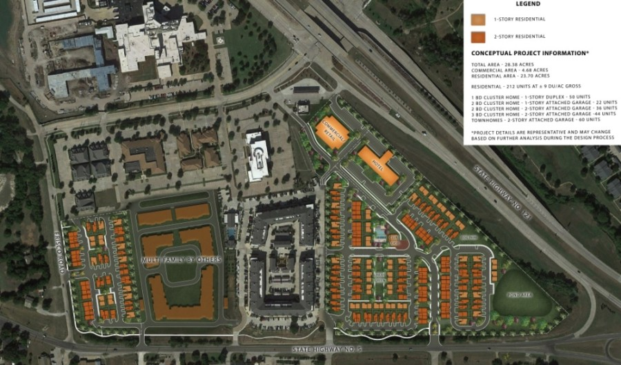 A proposed development would create tracts for a hotel, retail/commercial and a residential community. (Illustrative site plan courtesy city of McKinney)