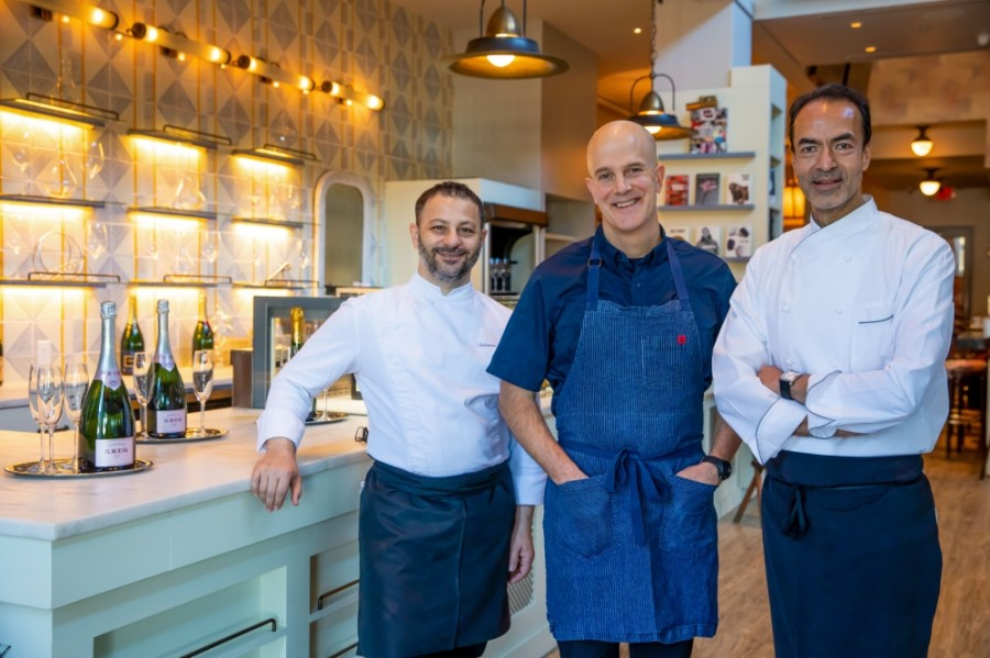 From left: Chefs Salvatore Martone, Jonathan Benno and Alain Verzeroli—all Michelin star recipients—are part of a team bringing two restaurant concepts to the Museum of Fine Arts, Houston in 2021. (Shannon O'Hara/Bastion Restaurants)