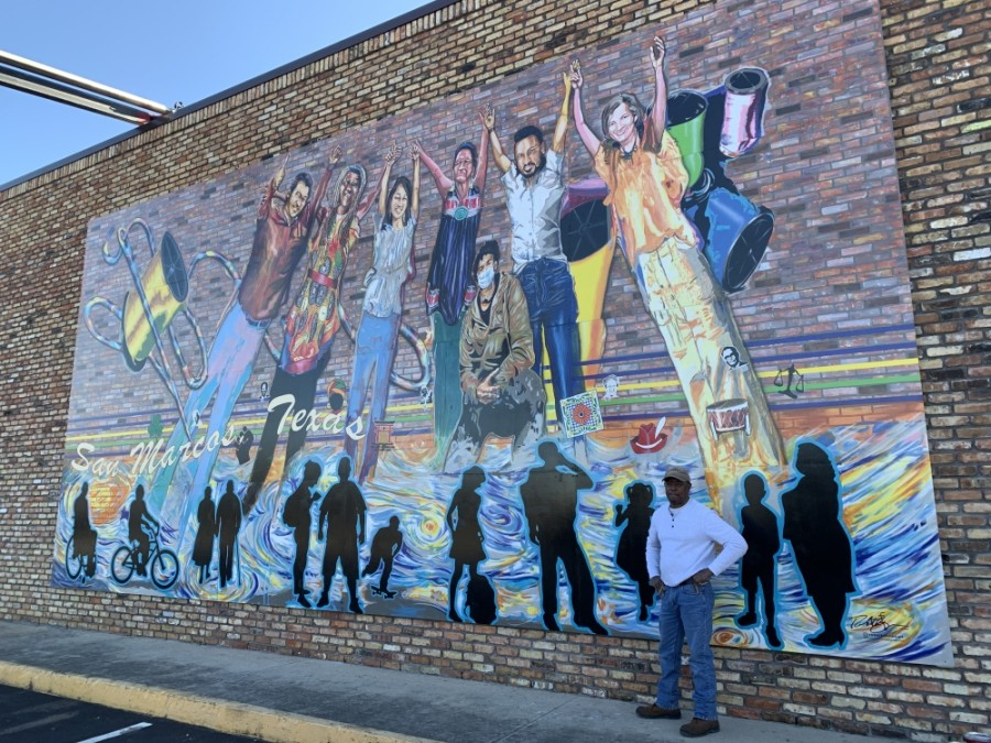 Local artist Robert Jones' mural was unveiled Jan. 16 in downtown San Marcos. (Heather Demere/Community Impact Newspaper)