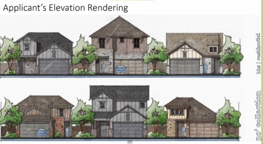 City staff displayed a rendering of home concepts that could be part of the newly approved subdivision in New Braunfels. (Screenshot courtesy city of New Braunfels)
