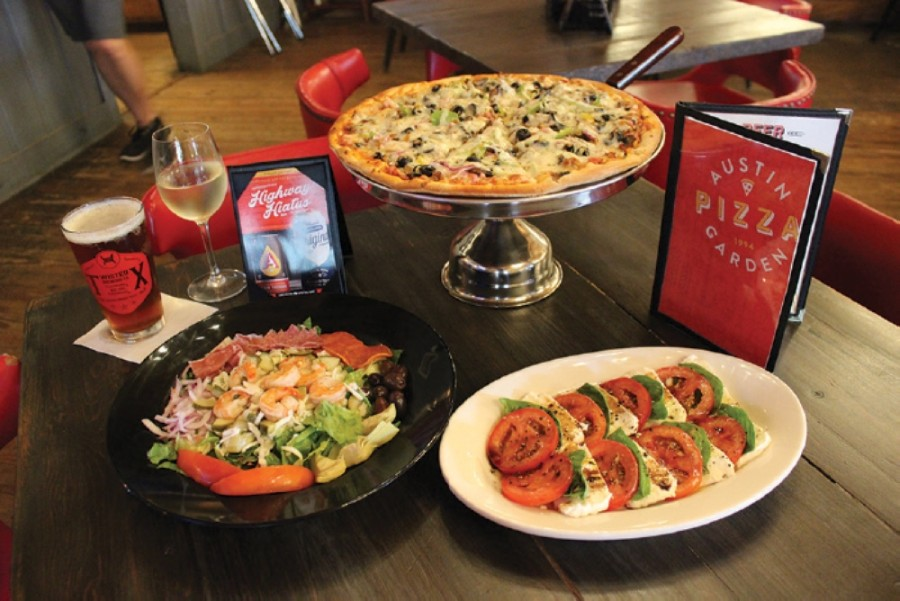 Austin Pizza Garden's menu features specialty pies, salads, sandwiches and starters. (Community Impact staff)