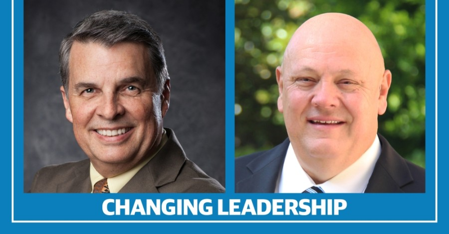 Michael Meek, Greater New Braunfels Chamber of Commerce president and CEO, and New Braunfels ISD Superintendent Randy Moczygemba announced their plans to retire this year. (Courtesy the Greater New Braunfels Chamber of Commerce/New Braunfels Independent School District)