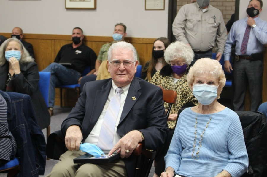 Humble City Council Member Allan Steagall, left, who served on the council for 18 years, officially retired Jan. 14. Steagall was joined at his last meeting by his wife, Juanita, right. (Kelly Schafler/Community Impact Newspaper)
