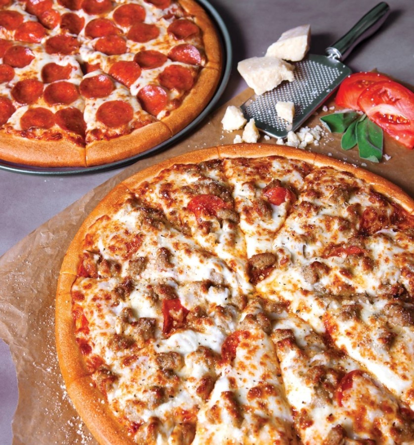 The pizzeria offers create-your-own and specialty pizzas available in six sizes, from mini to jumbo. (Courtesy Godfather's Pizza)