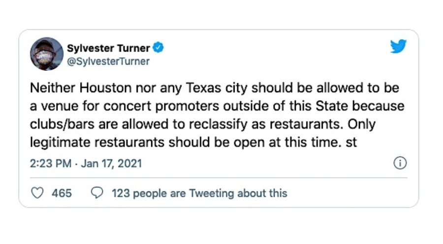 Mayor Sylvester Turner issued a warning to bars and nightclubs across Houston and said he plans to go after any establishment seen disregarding capacity guidelines. (Screenshot via Twitter)