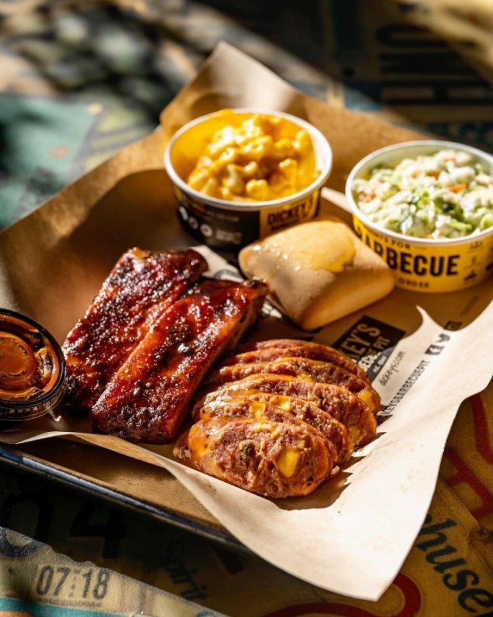 The Texas barbecue franchise, which is celebrating its 80th anniversary this year, offers a variety of barbecue plates and sandwiches and boasts fall-off-the-bone ribs and pit-smoked wings. (Courtesy Dickey's BBQ)