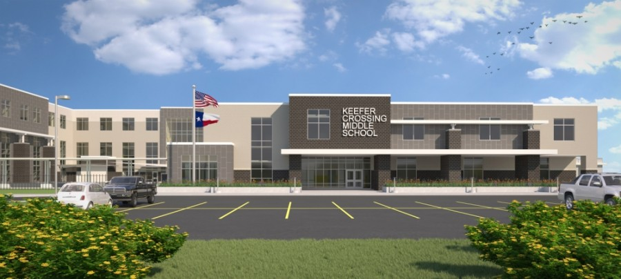 New Caney ISD's board of trustees approved rezoning middle school attendance zones ahead of Keefer Crossing Middle School's opening. (Rendering courtesy New Caney ISD)