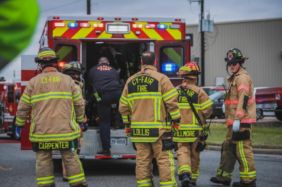 Members of the Cy-Fair Fire Department Emergency Medical Services team respond to an accident on Brittmore Road in Cy-Fair on Jan. 8. (Courtesy Capt. Daniel Arizpe/Cy-Fair Fire Department)