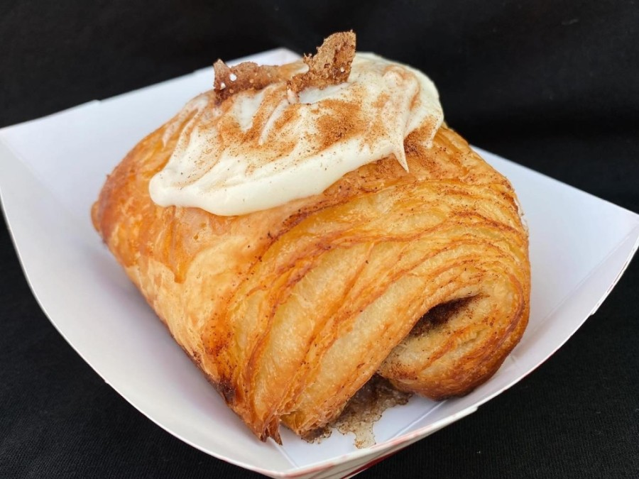 Teal House Coffee & Bakery's menu includes items such as the cinnamon roll croissant. (Courtesy Teal House Coffee & Bakery)