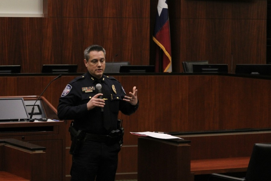 Police Chief Brad Fortune encouraged Keller residents to contact him with questions or suggestions, even after the Jan. 21 town hall meeting. (Kira Lovell/Community Impact Newspaper)