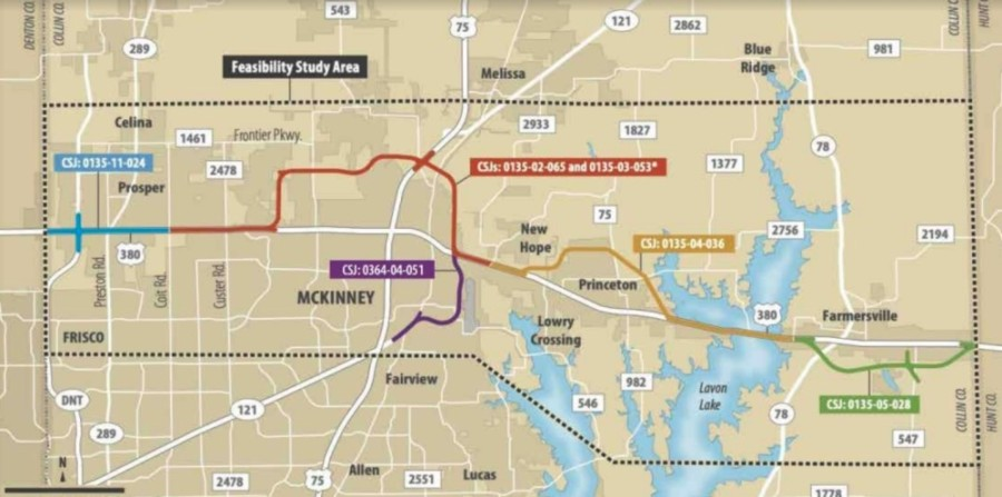 This map shows the conceptual alignments for US 380 in Collin County. (Courtesy Texas Department of Transportation)