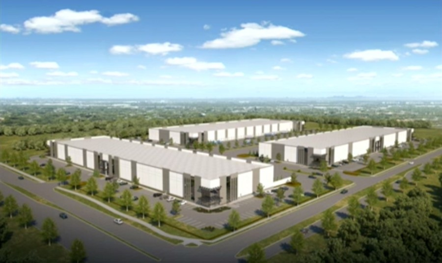 A rendering shows what the proposed development could look like upon completion, tentatively scheduled for 2024. (Courtesy Holdings Industrial)
