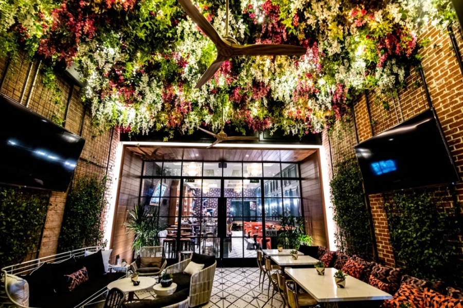 The restaurant expects to open this March with similar design elements to its Dallas location, such as an ivy-adorned garden patio and chandeliers over the bar. (Courtesy Ebb & Flow)