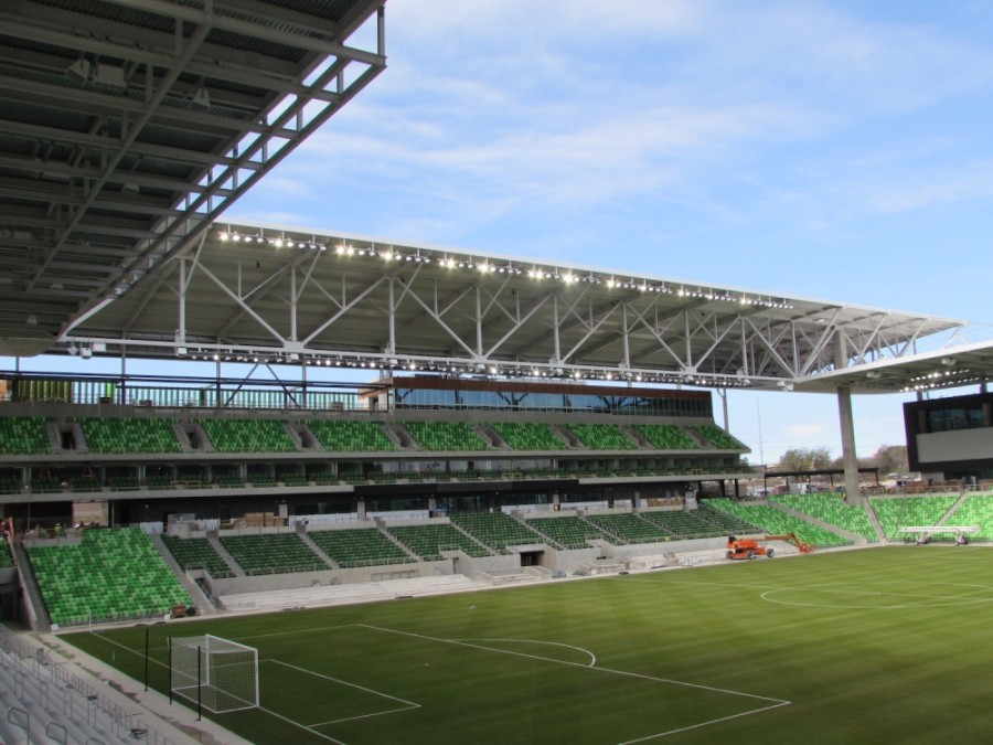 Construction at Q2 Stadium is on schedule to be completed by late March or early April. (Nicholas Cicale/Community Impact Newspaper)
