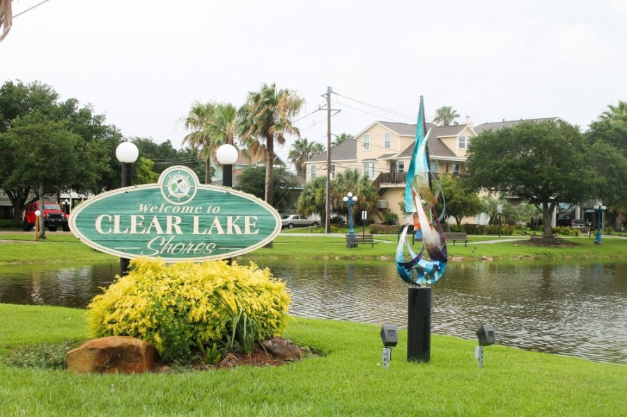 Clear Lake Shores stock image photo sign