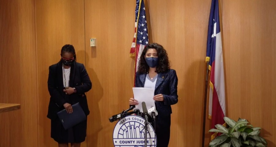 Harris County Judge Lina Hidalgo announced the opening of a COVID-19 vaccine waitlist at a Jan. 25 press conference. (Screenshot courtesy Facebook)