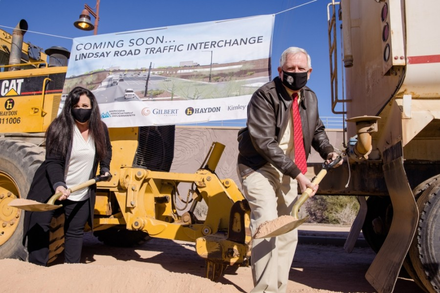 Lindsay Road interchange groundbreaking, Brigette Peterson, Scott Anderson