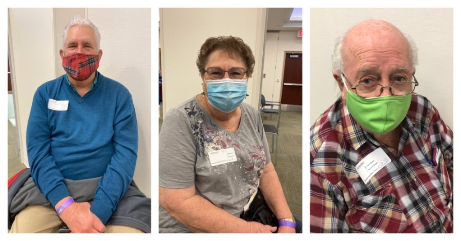 From left: Edward Leutsch, Nina Hermann and Rodney Alexander were among the first Houston Methodist Willowbrook Hospital patients to receive the COVID-19 vaccine. (Photos courtesy Houston Methodist Willowbrook Hospital)