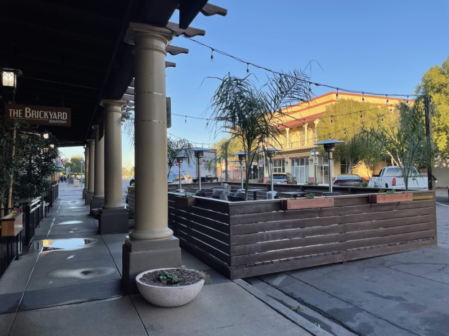 Gov. Doug Ducey expanded funding to support restaurants seeking to expand to outdoor dining. The Brickyard in downtown Chandler did so in late 2020 with funds from the city. (Alexa D'Angelo/Community Impact Newspaper)