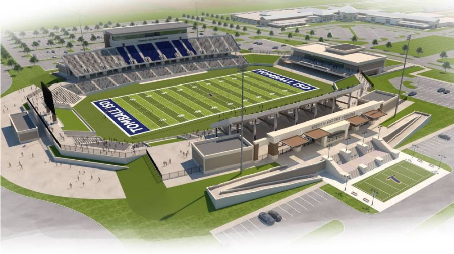 The district's 10,000-seat stadium and community center is scheduled to open in August. (Rendering courtesy PBK Architects)