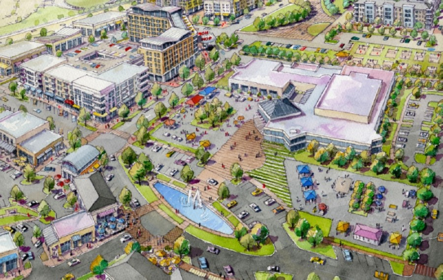 A city rendering depicts what the area surrounding the Plano Events Center could look like under the Envision Oak Point plan. (Courtesy city of Plano)