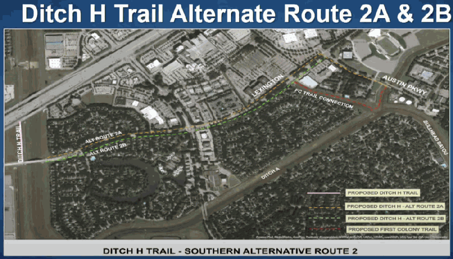 Ditch H has three potential routes, two of which are shown here. The route will be finalized based on the results of routing study in the area. (Screenshot courtesy of City of Sugar Land)