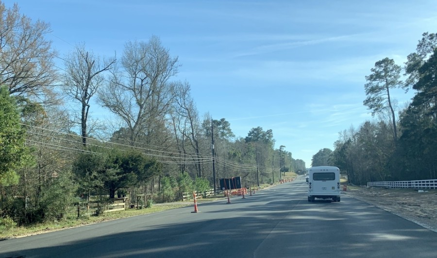 Nichols Sawmill Road is under construction from Grand Pines Drive to Nichols Sawmill Elementary School, Montgomery County Precinct 2 Commissioner Charlie Riley said. (Chrissy Leggett/Community Impact)
