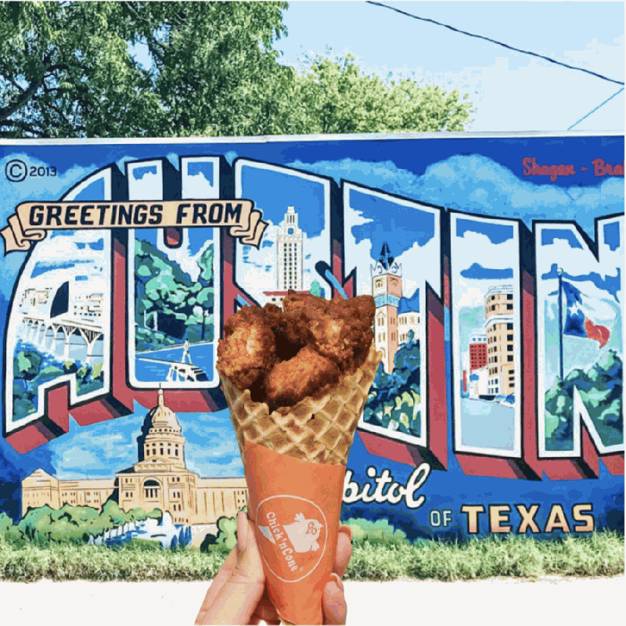 Photo of fried chicken in a waffle cone