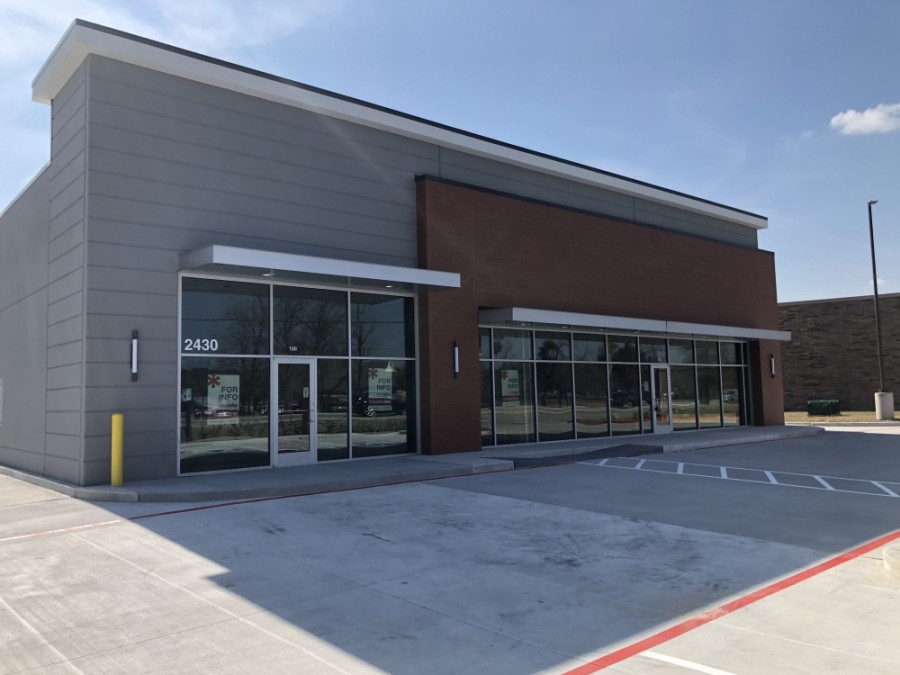 The new retail and medical building on Rayford Road is anticipated to open any day now. (Andrew Christman/Community Impact Newspaper)