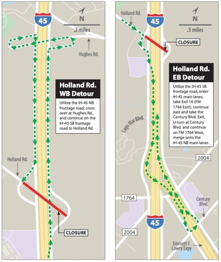During the months of work, motorists traveling along Holland Road will have to detour. (Courtesy TxDOT)