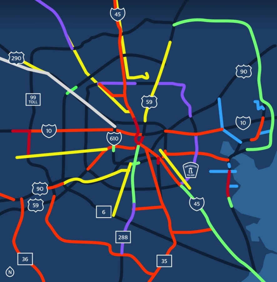 TAG-Houston's regional map of needed transportation projects shows which routes are in need of which kind of projects.