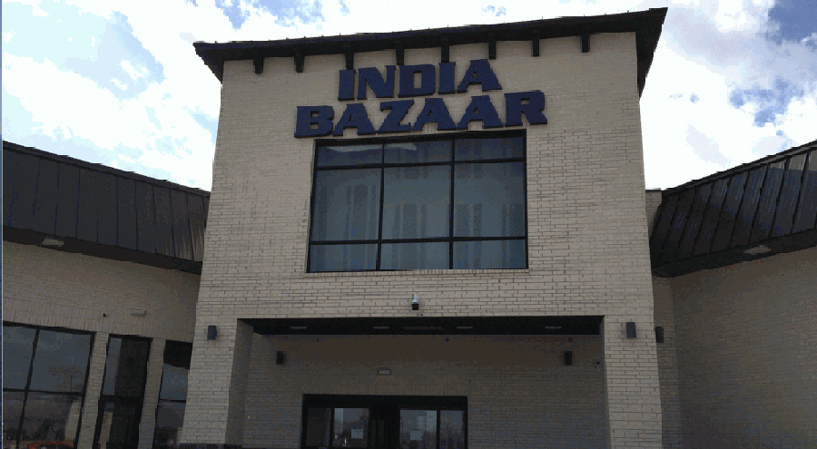 The new building, set to open in mid-March, will include an India Bazaar grocery store. (Valerie Wigglesworth/Community Impact Newspaper)
