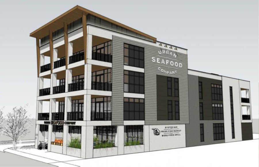 rendering of four-story building