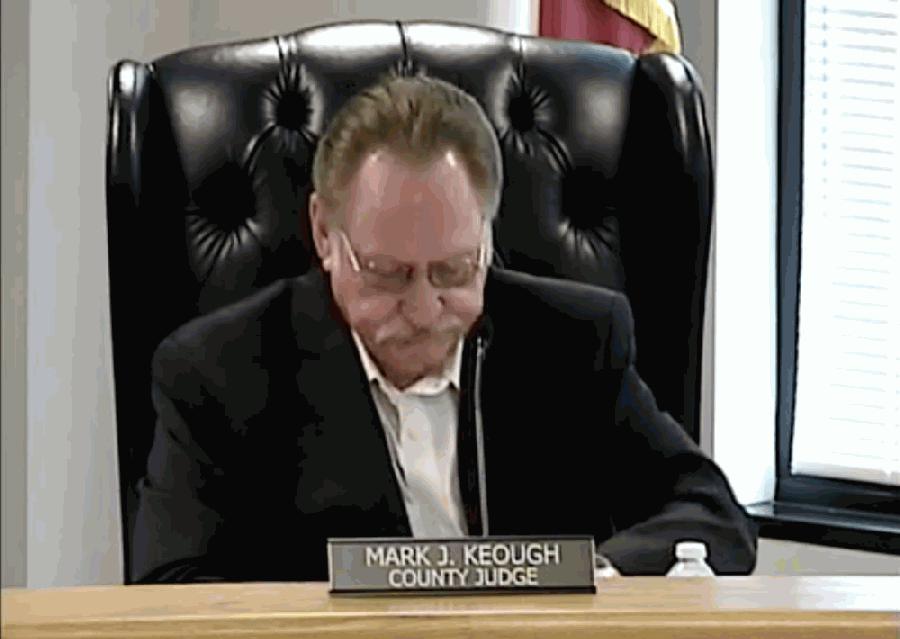 Montgomery County Judge Mark Keough listens to a presentation regarding a vaccination registration program. (Screenshot via Montgomery County livestream)
