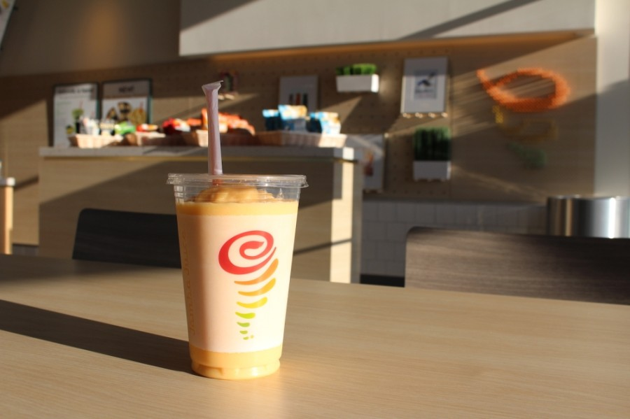 A Jamba Juice smoothie on a table