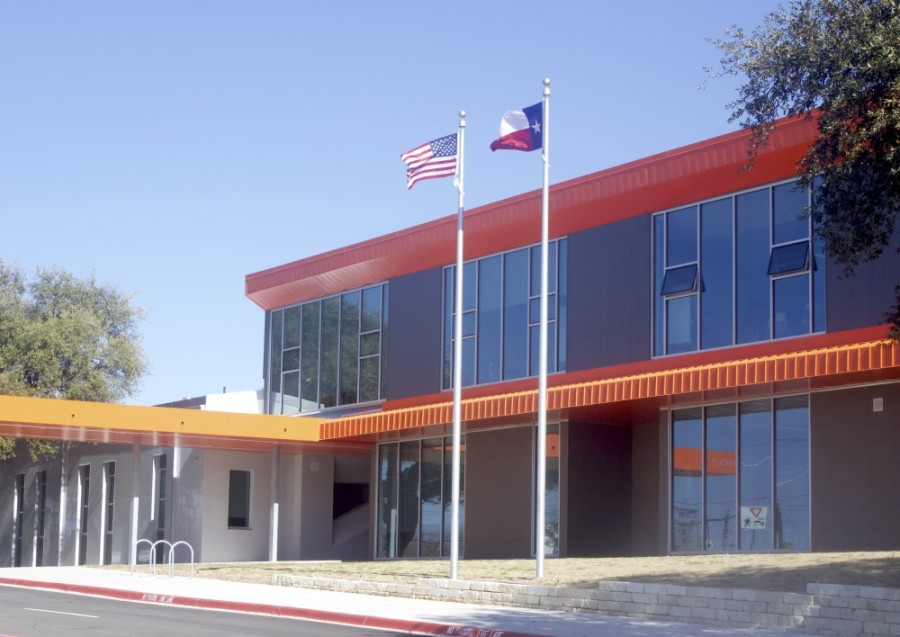 Norman-Sims Elementary School on Tannehill Lane in East Austin will hold a virtual grand opening celebration for its new school campus Feb. 11. (Jack Flagler/Community Impact Newspaper)