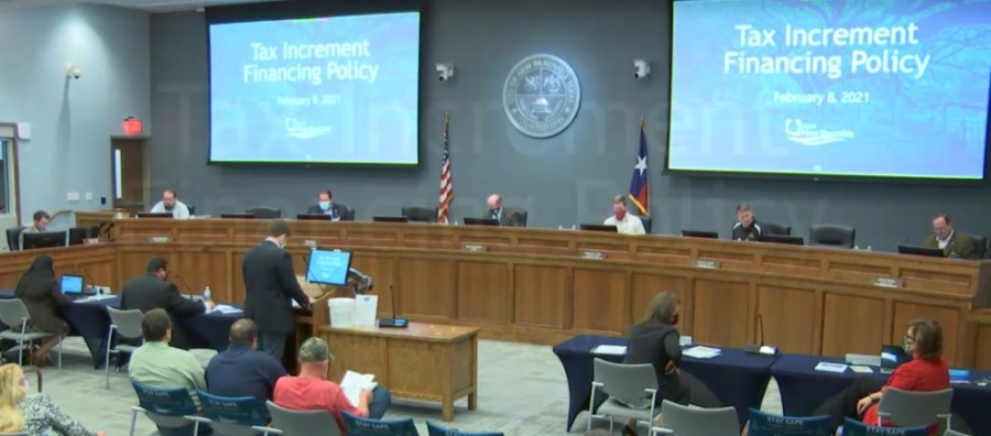New Braunfels Economic Development Director Jeff Jewell laid out his policy proposal during City Council's Feb. 8 meeting. (Screen shot courtesy city of New Braunfels)