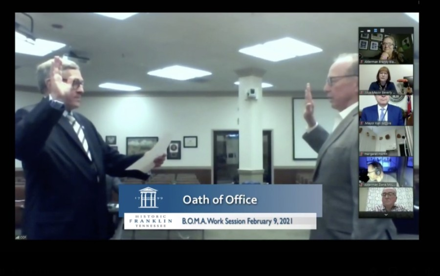 Former Franklin Mayor John Schroer, right, was sworn in to the Franklin Board of Mayor and Aldermen on Feb. 9. (Screenshot via www.franklintn.gov)