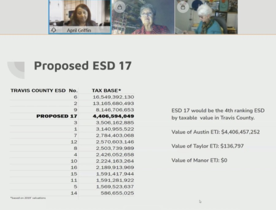 April Griffin, Travis County Emergency Services District No. 2 board commissioner, presented the proposed ESD 17 district to the Travis County Commissioners Court on Feb. 9. (Screenshot courtesy Travis County Commissioners Court)