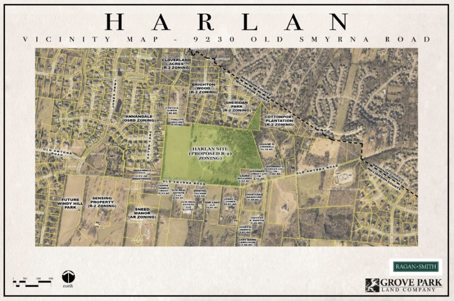 A new 21-lot neighborhood called Harlan is up for approval from the Brentwood City Commission. (Courtesy city of Brentwood, Grove Park Construction)