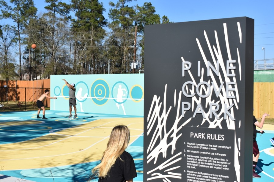 The park includes basketball courts and other recreation areas such as a bocce court and foosball table. (Vanessa Holt/Community Impact Newspaper)