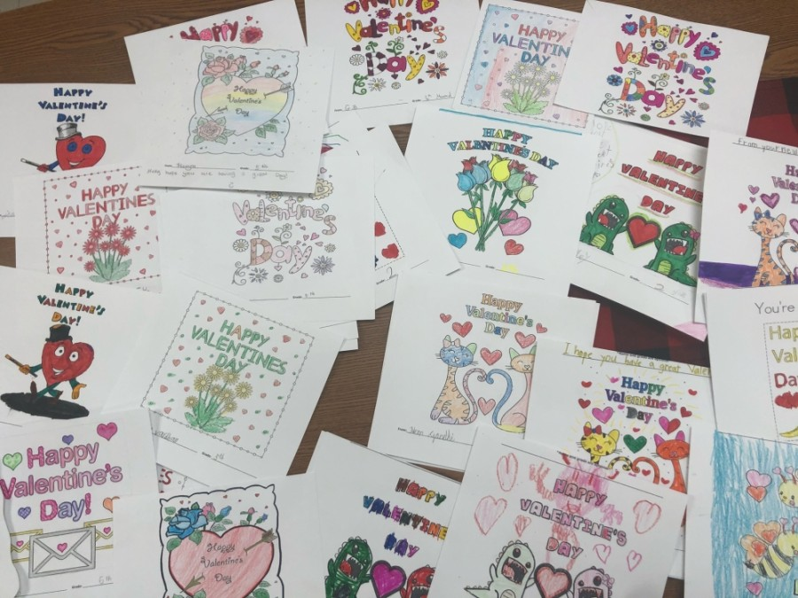 In the days leading up to Valentine's Day, the students at Jacobson Elementary were busy crafting messages filled with love—this time, for the residents of the senior living facility across the street. (Courtesy Jacobson Elementary)