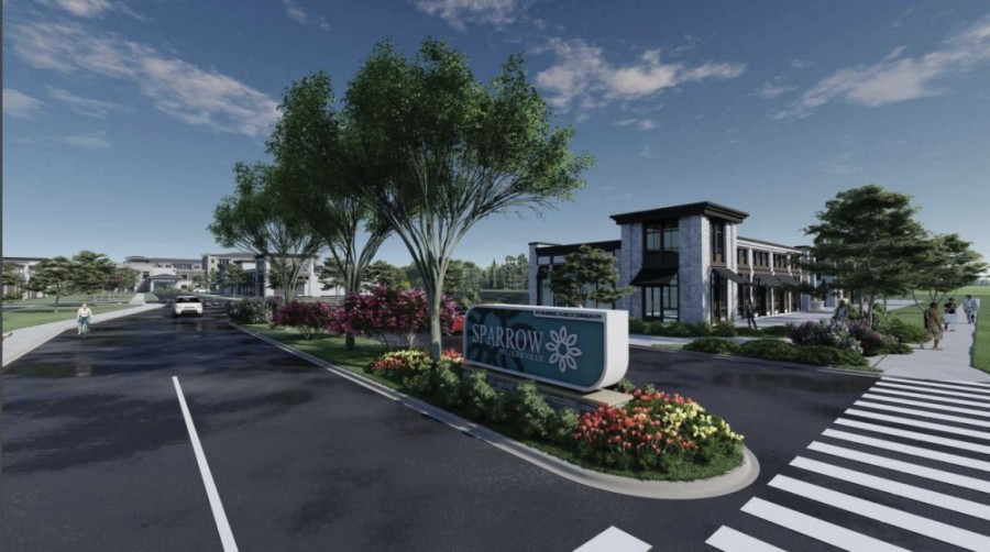 Under Phase 1 of the project, a four-story multifamily complex will be developed on the eastern segment of the property. (Renderings courtesy city of Pflugerville)