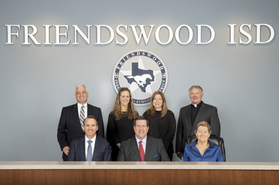 The Friendswood ISD board of trustees meets twice each month: once for a workshop and once for a regular meeting. (Courtesy Friendswood ISD)