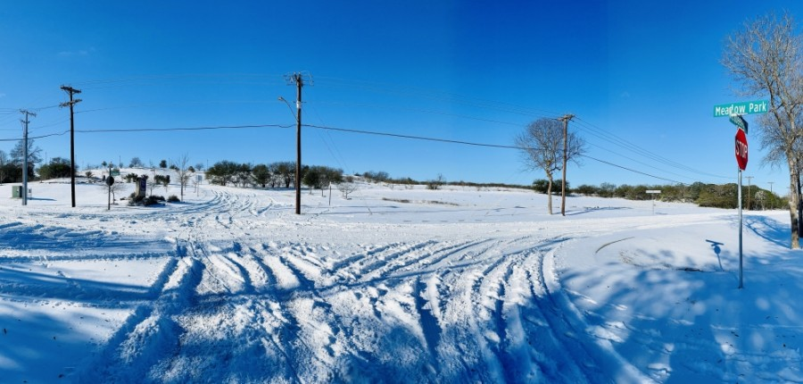 McQueeny Road is shown covered in snow in New Braunfels. (Rachal Russel/Community Impact Newspaper)