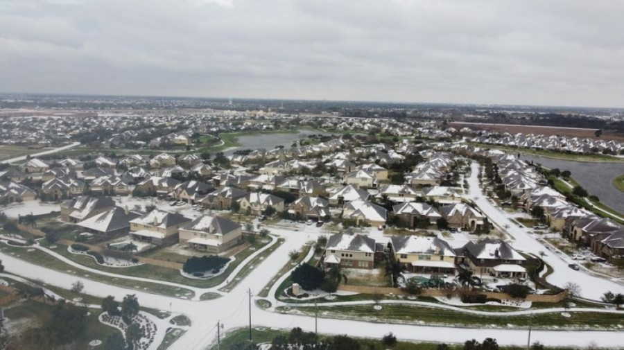 Streets of the MarBella neighborhood are snowy, as seen from above the morning of Feb. 15. (Courtesy Rico Daniels)