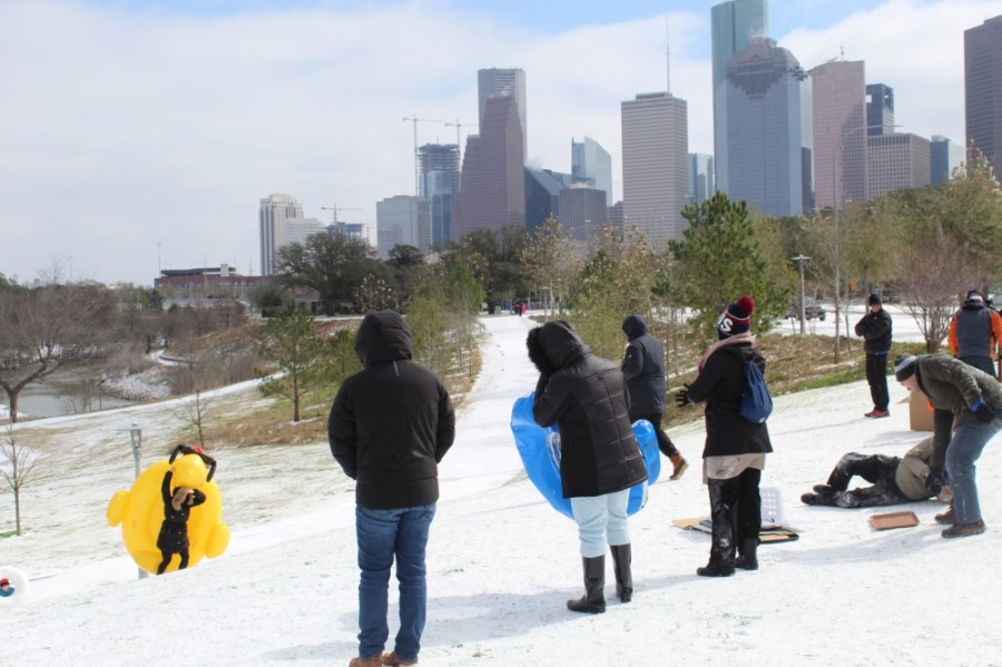 Parkgoers brought inner tubes to Buffalo Bayou Park for sledding